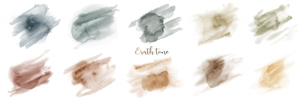 Hand painted green brown earth tone watercolor set