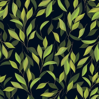 Hand painted green leaf seamless pattern