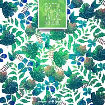 Hand painted green leaves background Free Vector