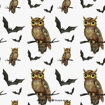 Hand painted halloween owls and bats pattern
