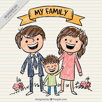Hand painted happy family background