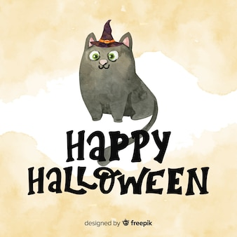 Hand painted happy halloween lettering with cat in watercolor