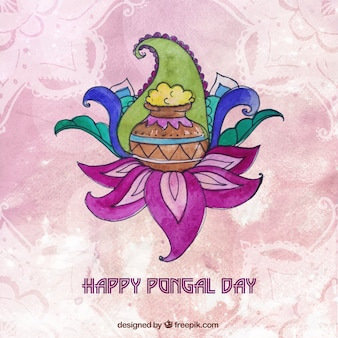 Hand painted happy pongal day background