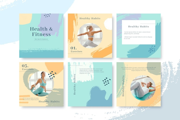 Hand painted health and fitness instagram posts collection with photo