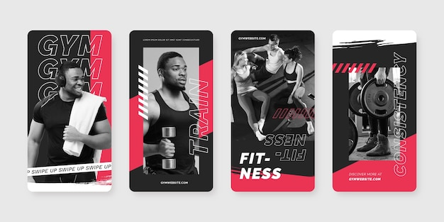 Hand painted health and fitness instagram stories collection with photo