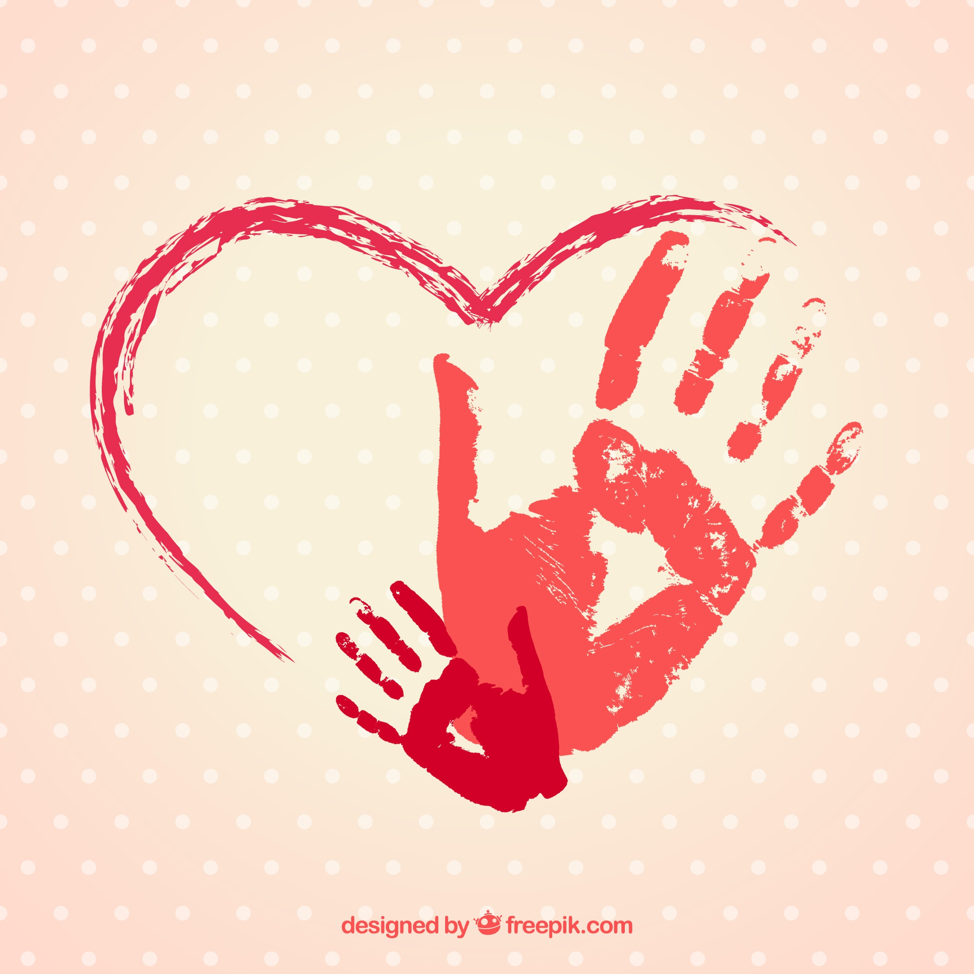 Hand painted heart with handprints