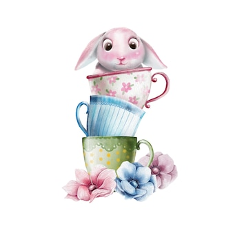 Hand painted illustration of cute bunny in teacup