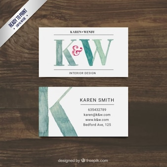 Hand painted interior design business card Free Vector