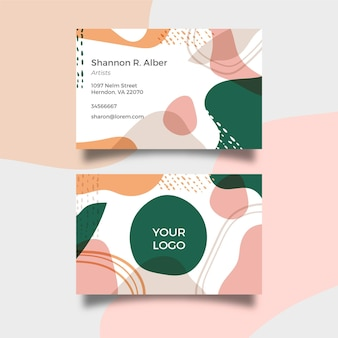 Hand painted irregular shapes business card