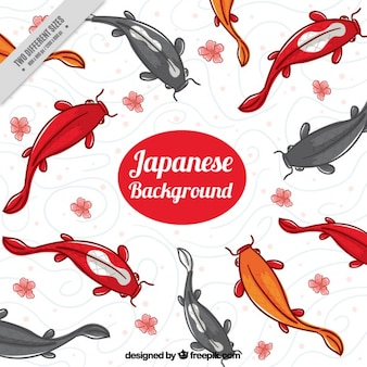 Hand painted japanese fishes background