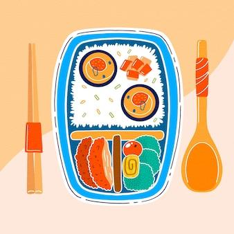 음식으로 가득 찬 손으로 그린 일본 도시락