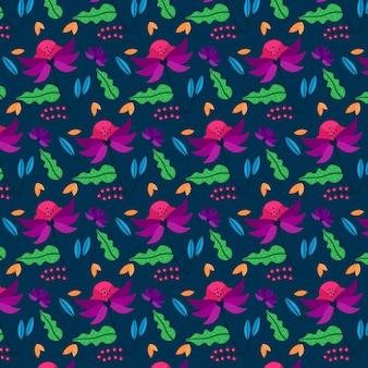 手描きの葉とエキゾチックな花柄