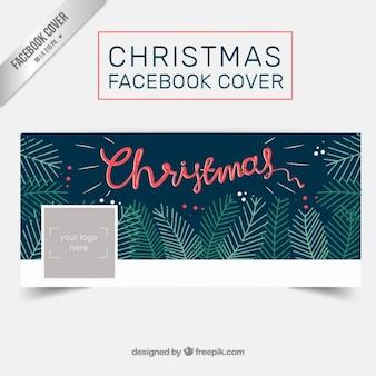 Ручная роспись оставляет рождество крышки facebook