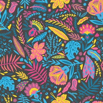 Hand painted leaves and exotic flowers pattern