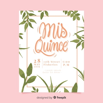 Hand painted leaves quinceanera card template