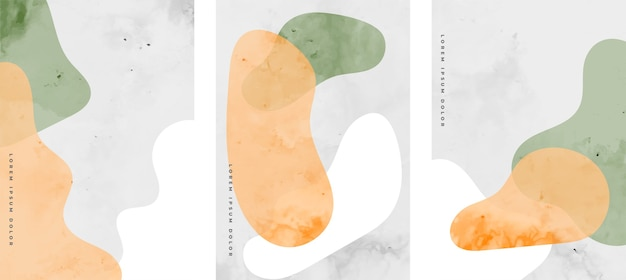 Hand painted liquid watercolor minimalist flyers set