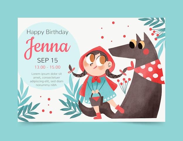 手描きの小さな赤い乗馬フードの誕生日の招待状