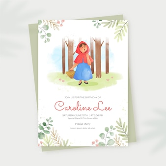 Hand painted little red riding hood birthday invitation