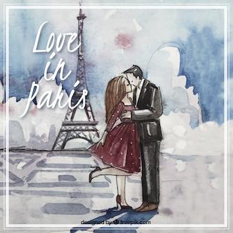 Dipinto a mano amore a parigi