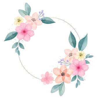 Hand painted lovely spring floral frame