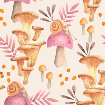 손으로 그린 버섯 패턴