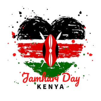 Hand painted national kenya jamhuri day heart shaped flag