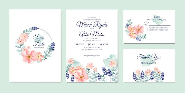 手描きの花の水彩画の結婚式の招待状