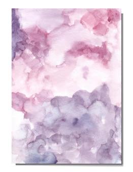 ピンクと濃い紫の抽象的な水彩画の背景の手描き