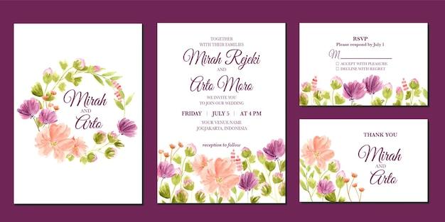 Ручная роспись фиолетового и персикового цветочного акварельного свадебного приглашения
