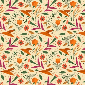 Hand painted orange exotic floral pattern