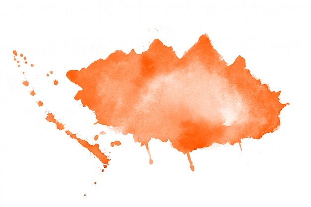 Hand painted orange watercolor stain texture background