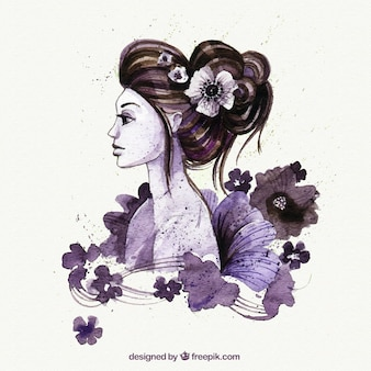 Hand painted oriental woman Free Vector