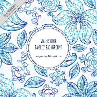 青い色の手描きペイズリーの背景