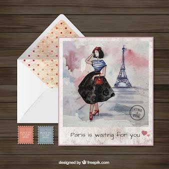 Hand painted paris postcard and envelope Premium Vector