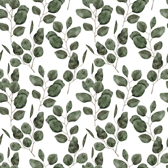 Hand painted pattern with green eucalyptus watercolor