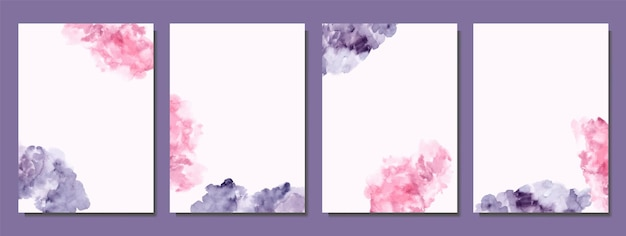 Hand painted of pink and deep purple abstract watercolor covers