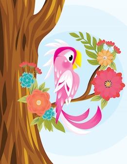 손으로 그린 핑크, 앵무새 및 종 려 나뭇잎 배경