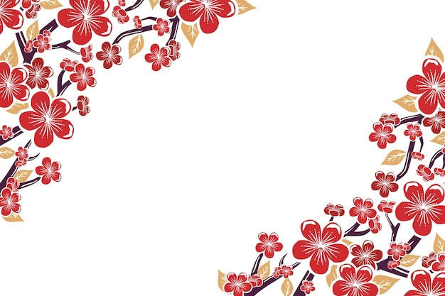Hand painted pink plum blossom background copy space