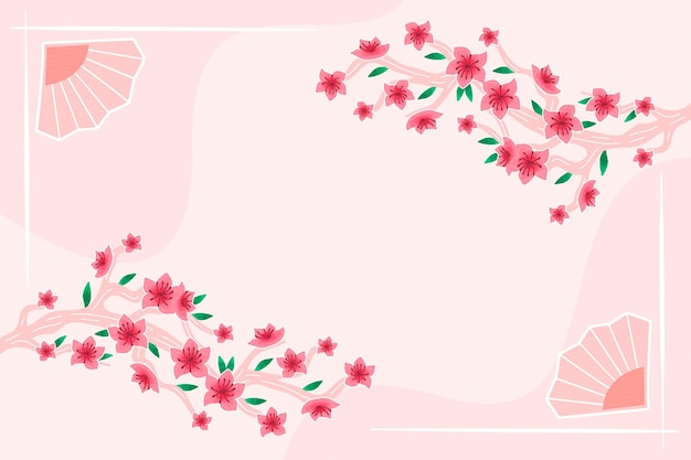 Hand painted plum blossom background copy space