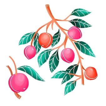 Illustrazione dell'albero di prugna dipinta a mano