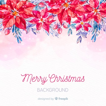 Hand painted poinsettia christmas background