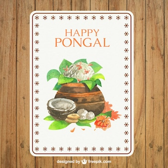 Hand painted Pongal card