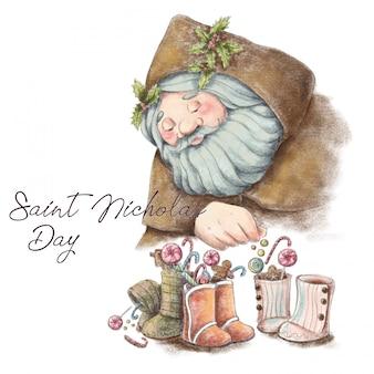 Hand painted postcard for Saint Nicholas day