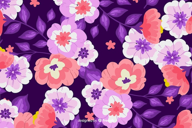 Hand painted purple floral background