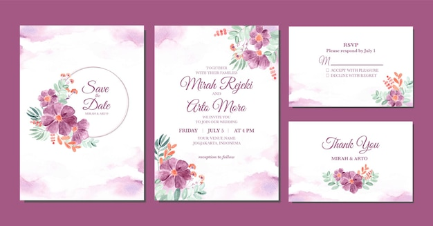 Hand painted of purple floral watercolor wedding invitation