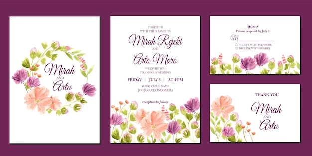 Hand painted of purple and peach floral watercolor wedding invitation
