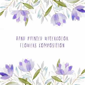 Hand painted purple watercolor floral composition