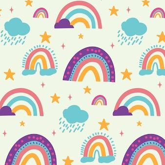 Hand painted rainbow pattern design
