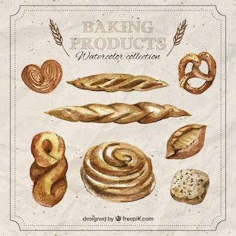 손으로 그린 사실적인 빵 모음