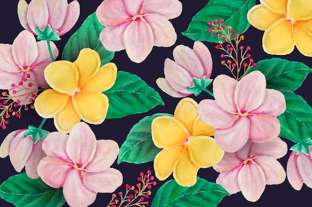 Hand painted realistic floral background